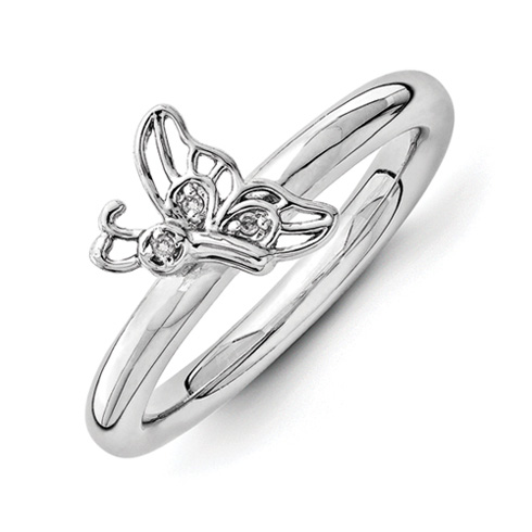Sterling Silver Stackable Rhodium Butterfly Diamond Ring