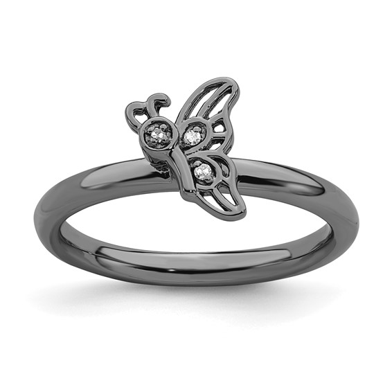 Sterling Silver Stackable Black-plated Butterfly Diamond Ring
