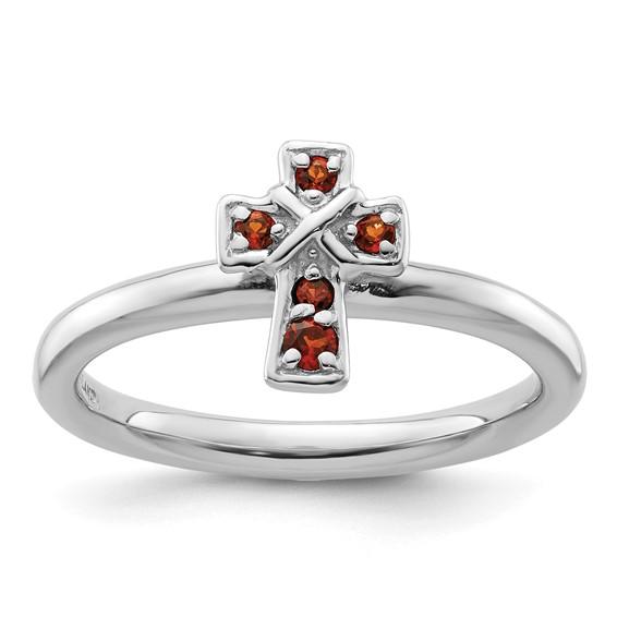 Sterling Silver Stackable Garnet Cross Ring