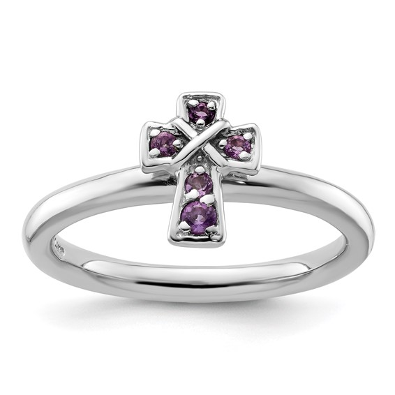 Sterling Silver Stackable Amethyst Cross Ring