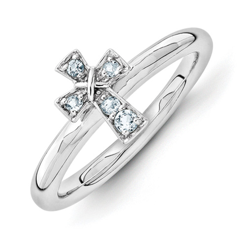 Sterling Silver Stackable Aquamarine Cross Ring