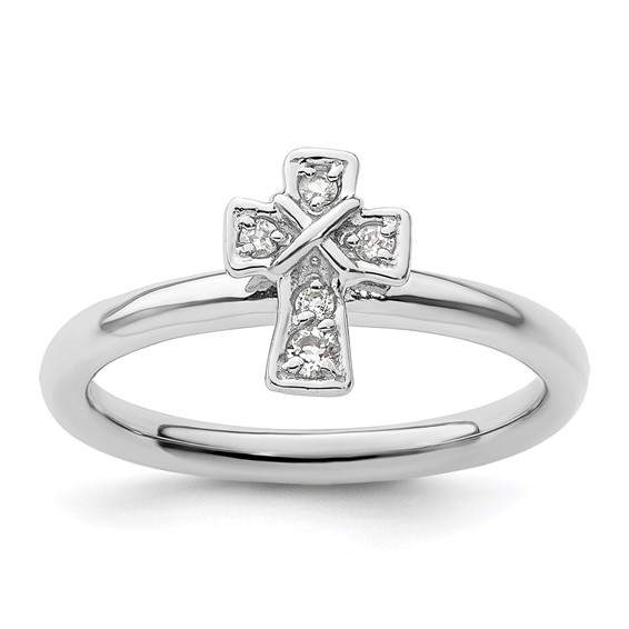 Sterling Silver Stackable White Topaz Cross Ring