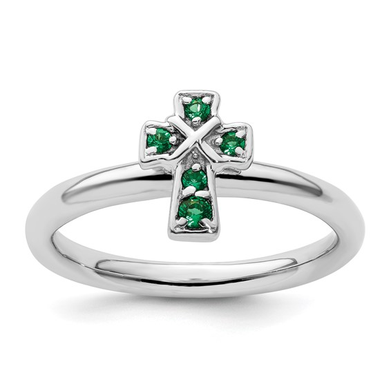 Sterling Silver Stackable Created Emerald Cross Ring