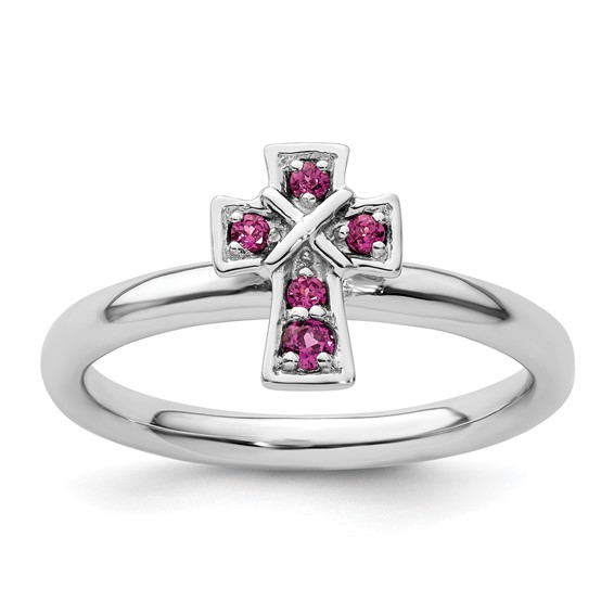 Sterling Silver Stackable Rhodolite Garnet Cross Ring