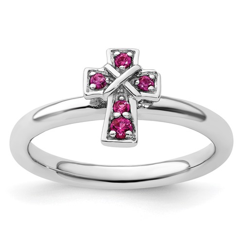 Sterling Silver Stackable Created Ruby Cross Ring