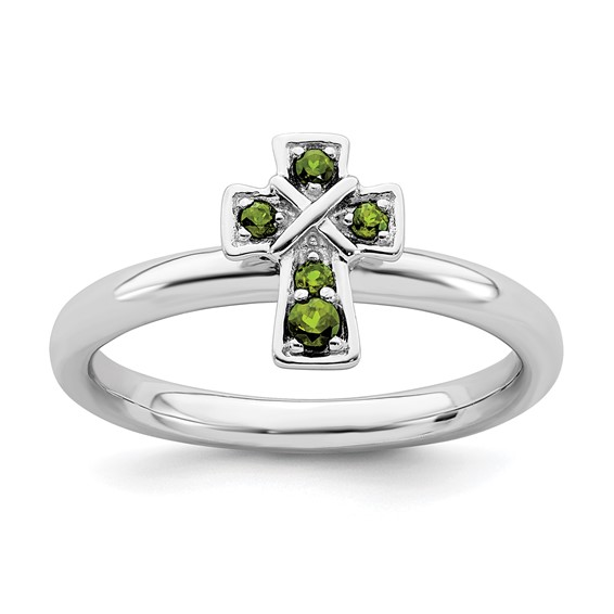 Sterling Silver Stackable Peridot Cross Ring
