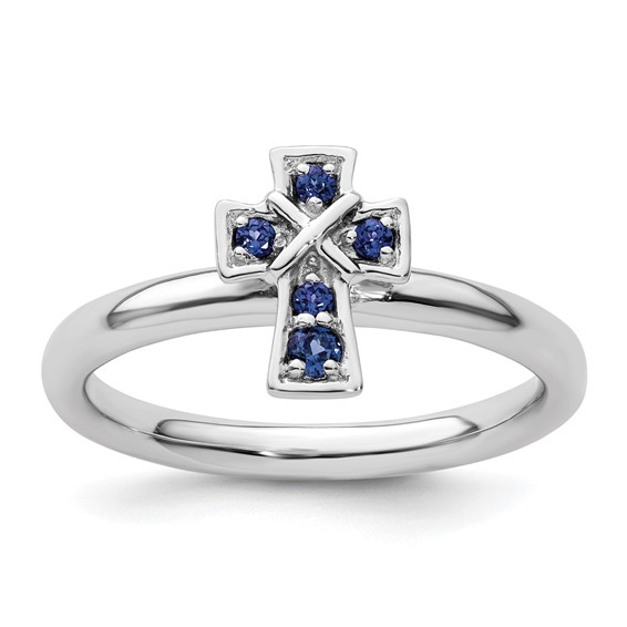 Sterling Silver Stackable Created Sapphire Cross Ring