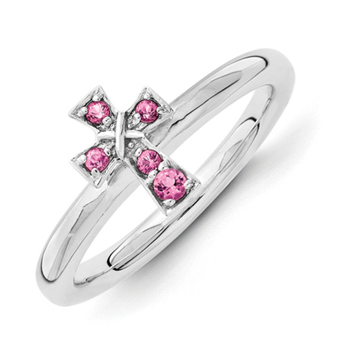 Sterling Silver Stackable Pink Tourmaline Cross Ring
