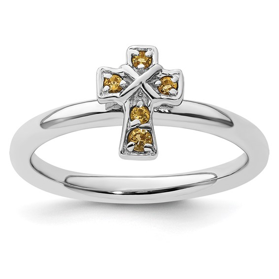 Sterling Silver Stackable Citrine Cross Ring
