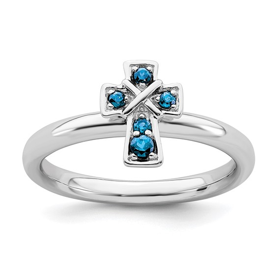 Sterling Silver Stackable Blue Topaz Cross Ring