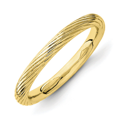 Sterling Silver Stackable Gold-plated Ring with Ridges