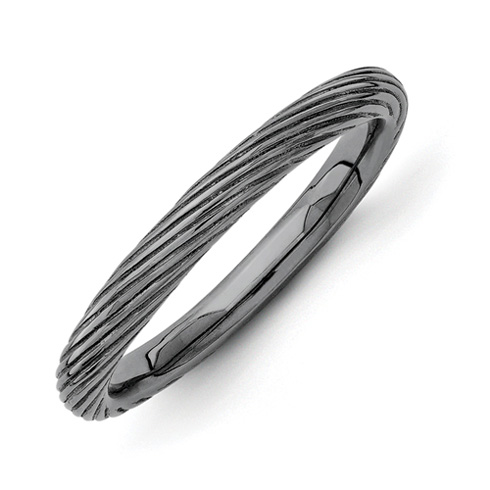Sterling Silver Stackable Black-plated Ring with Ridges