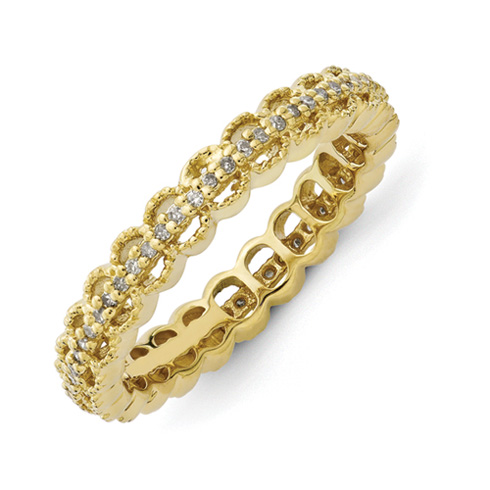 Sterling Silver Stackable Gold-plated Carved 1/5 ct Diamond Ring