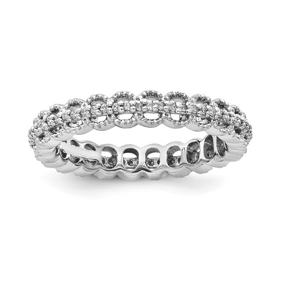 Sterling Silver Stackable Rhodium Carved 1/5ct Diamond Ring