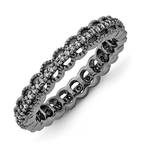 Sterling Silver Stackable Black-plated Carved 1/5ct Diamond Ring