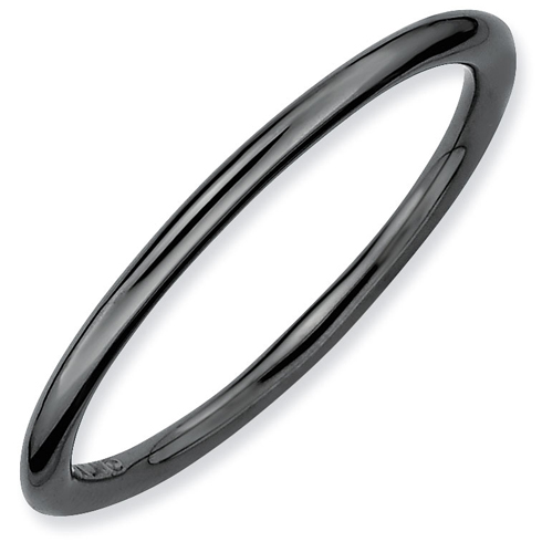 Black-plated Sterling Silver Stackable 1.5mm Polished Ring