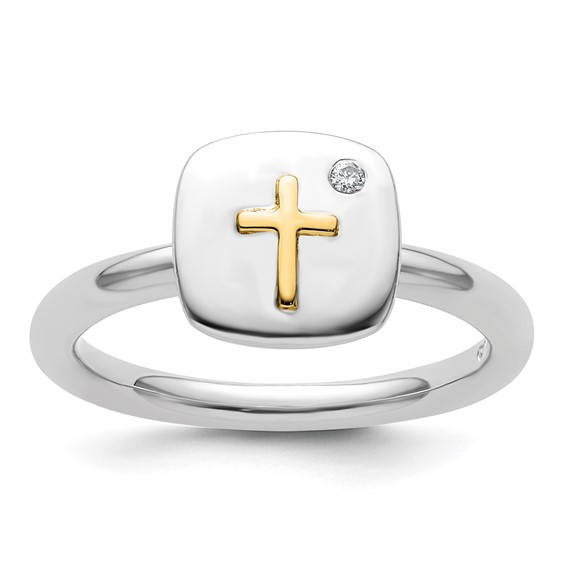 Sterling Silver & 14kt Gold Cross Stackable Diamond Ring