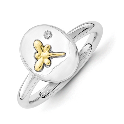 Sterling Silver & 14kt Gold Dragonfly Stackable Diamond Ring