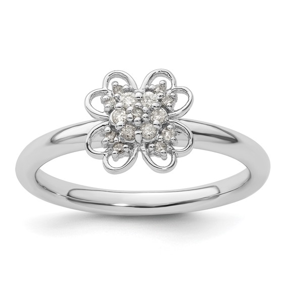 Sterling Silver & 14k Gold-plated Stackable Diamond Flower Ring