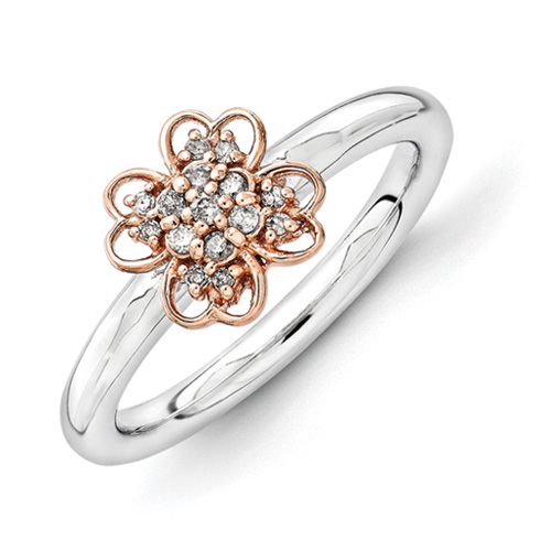 Sterling Silver & 14k Rose Gold-plated Stackable Diamond Flower Ring
