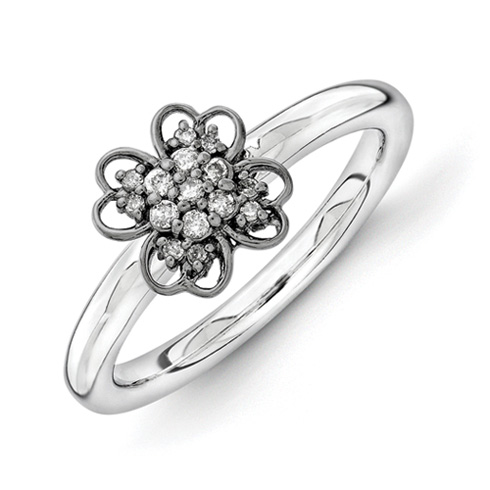 Sterling Silver & Black-plated Stackable Diamond Flower Ring
