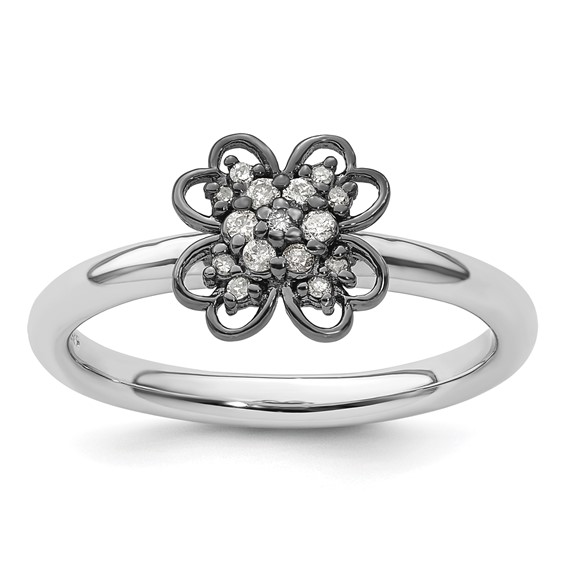 Sterling Silver Stackable Diamond Flower Ring