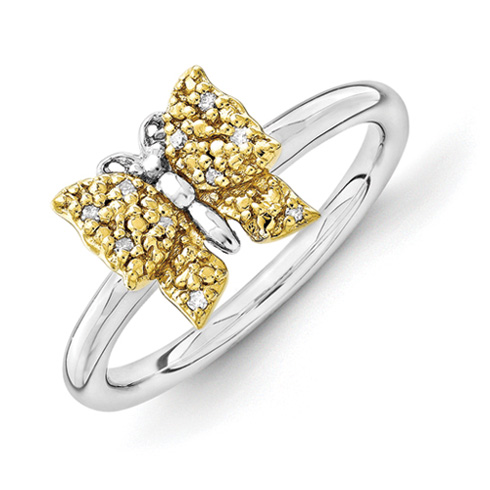 Sterling Silver & Gold-plated Stackable Diamond Butterfly Ring