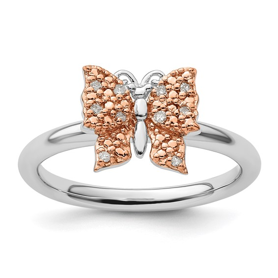 Sterling Silver 14kt Rose Gold-plated Stackable Diamond Butterfly Ring