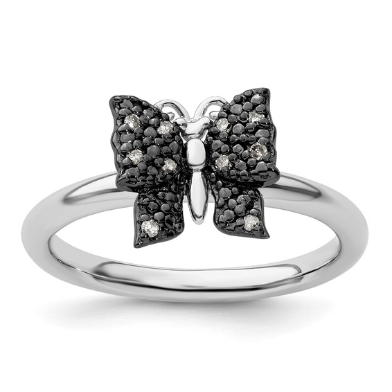 Sterling Silver & Black-plated Stackable Diamond Butterfly Ring