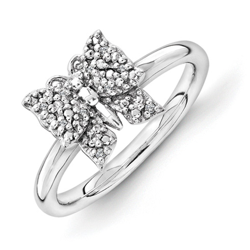 Sterling Silver Stackable Diamond Butterfly Ring