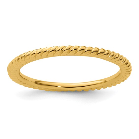 Sterling Silver Stackable 1.5mm Gold-plated Twisted Ring
