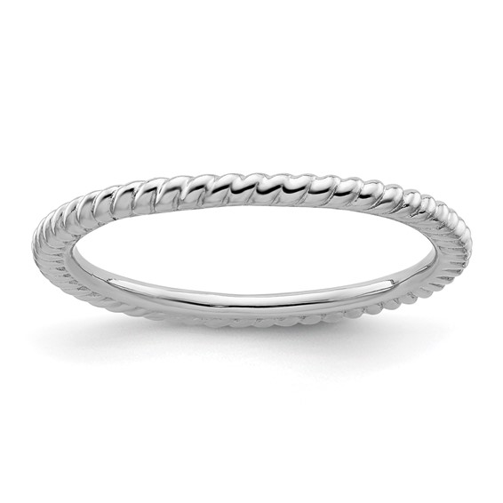 Sterling Silver Stackable 1.5mm Rhodium Twisted Ring