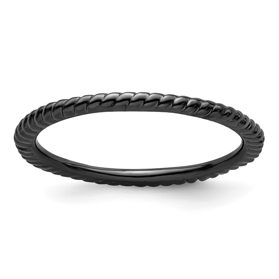 Black-plated Sterling Silver Stackable 1.5mm Twisted Ring