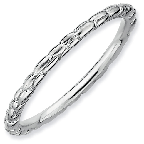 Sterling Silver Stackable Expressions 1.5mm Rhodium Twist Ring