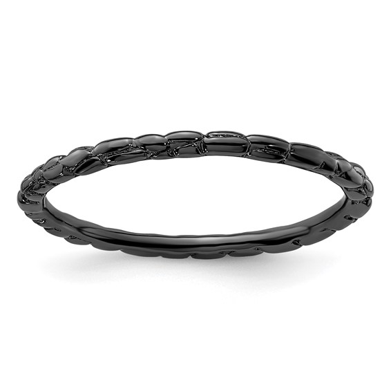 Sterling Silver Stackable Expressions 1.5mm Black-plated Twisted Ring