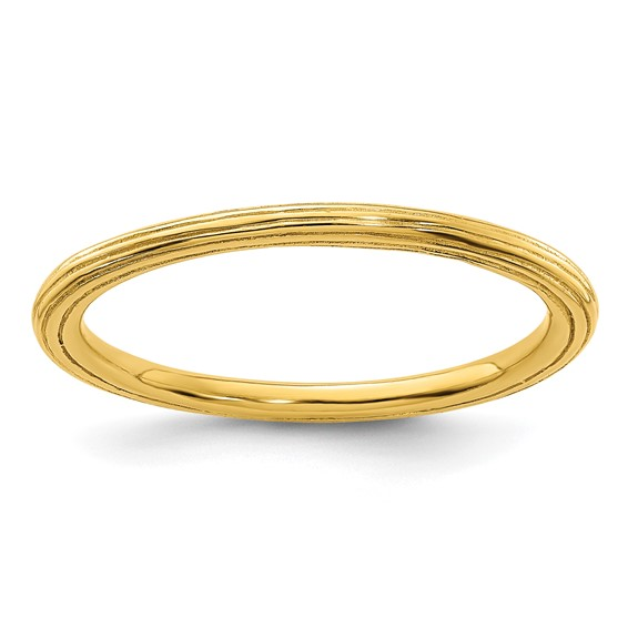 18kt Gold-plated Sterling Silver Stackable 1.5mm Ring Step-down Edges