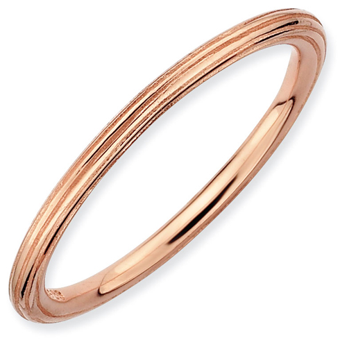 Sterling Silver Stackable Expressions 1.5mm 18kt Pink Gold-plated Step-down Ring