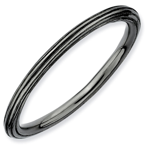 Black-plated Sterling Silver Stackable 1.5mm Step-down Ring