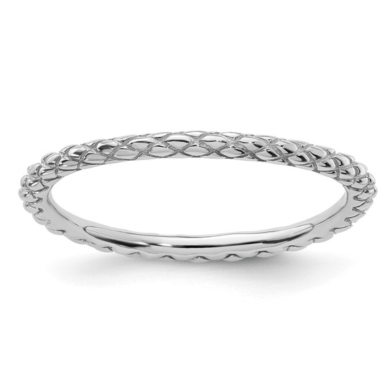 Sterling Silver Stackable Expressions Rhodium Criss-cross Ring