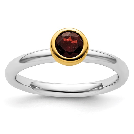 Sterling Silver Stackable Expressions Gold-plated Garnet Ring