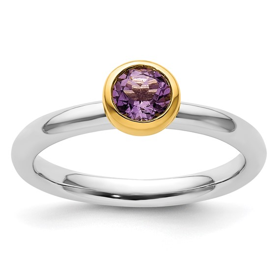 Sterling Silver Stackable Gold-plated 2/5 ct Amethyst Ring