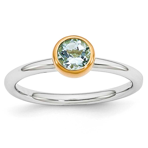Sterling Silver Stackable Gold-plated .45 ct Aquamarine Ring