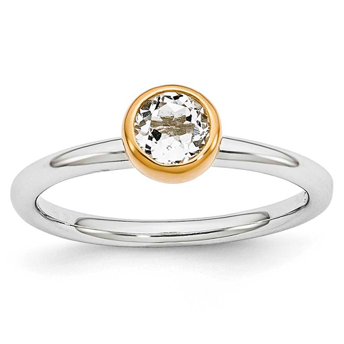 Sterling Silver Stackable Gold-plated .60 ct White Topaz Ring