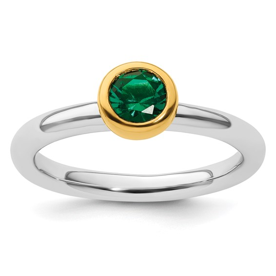 Gold-plated Sterling Silver Stackable 1/2 ct Created Emerald Ring
