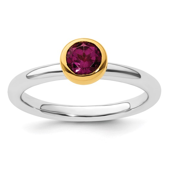 Sterling Silver Stackable Gold-plated 3/5 ct Rhodolite Garnet Ring