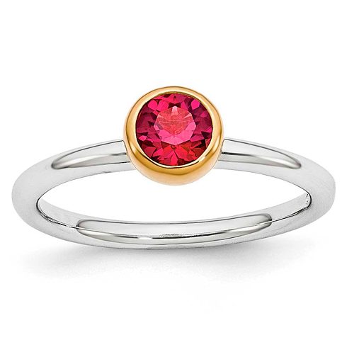 Sterling Silver Stackable Gold-plated 1/2 ct Created Ruby Ring