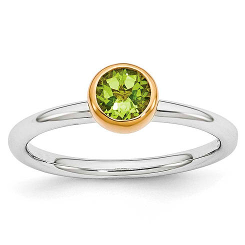 Sterling Silver Stackable Gold-plated 1/2 ct Peridot Ring