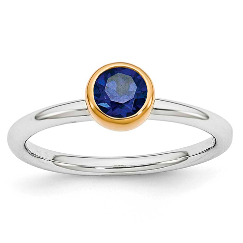 Sterling Silver Stackable Expressions Gold-plated Blue Topaz Ring