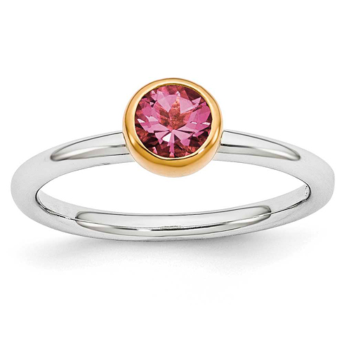 Sterling Silver Stackable Expressions Gold-plated Pink Tourmaline Ring
