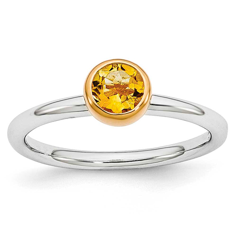 Sterling Silver Stackable Gold-plated Citrine Ring